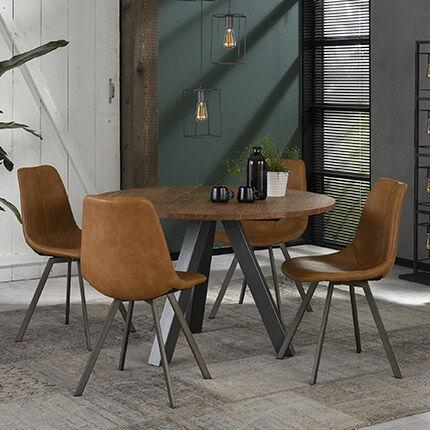 Maisonetstyles Table à manger ronde 120 cm en acacia et 4 chaises en PU marron