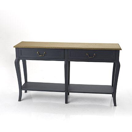 Maisonetstyles Console 2 tiroirs 140x35x80 cm naturel et noir - LORRY
