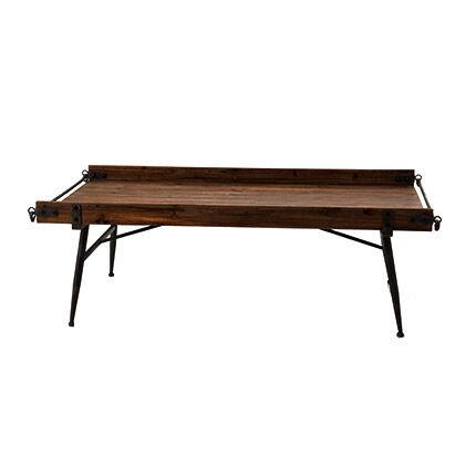 Maisonetstyles Table basse industrielle 125x60x36 cm en bois marron et métal
