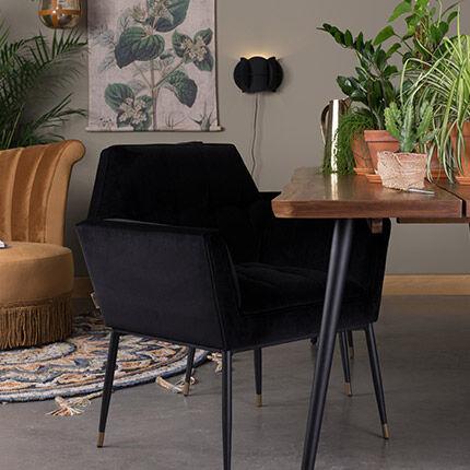 Maisonetstyles Fauteuil 71,5x63,5x86 cm en velours noir - KATE