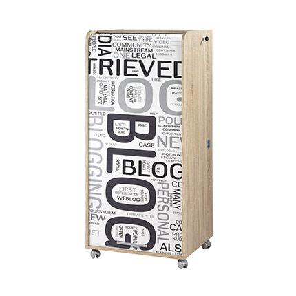 Maisonetstyles Armoire informatique H140 cm chêne et décor blog - GAETAN