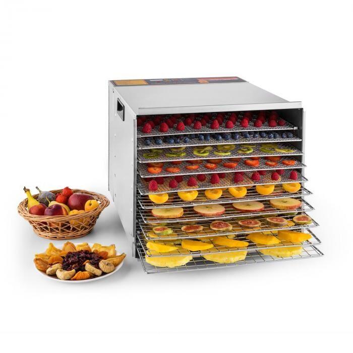 Klarstein Pro Fruit Jerky Steel 10 déshydrateur alimentaire 1000W 10 étages acier
