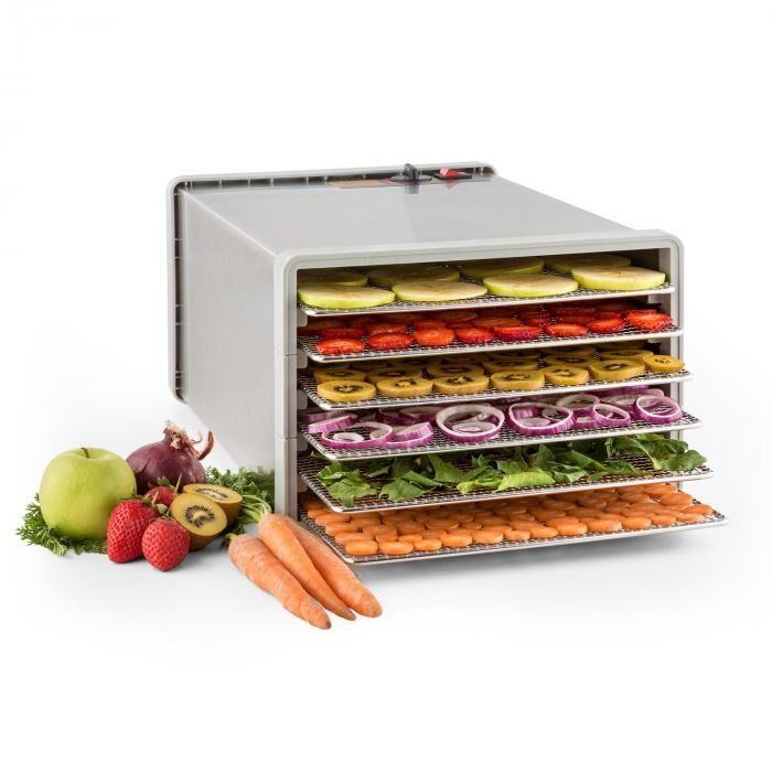 Klarstein Pro Fruit Jerky Steel 6 Déshydrateur alimentaire 630W 6 étages acier