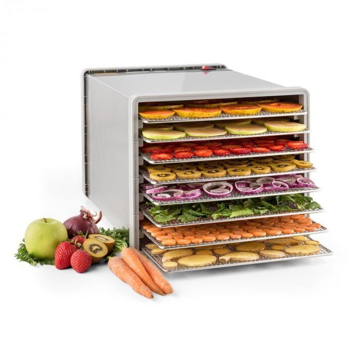 Klarstein Fruit Jerky Pro 8 Déshydrateur alimentaire 630W 8 étages acier