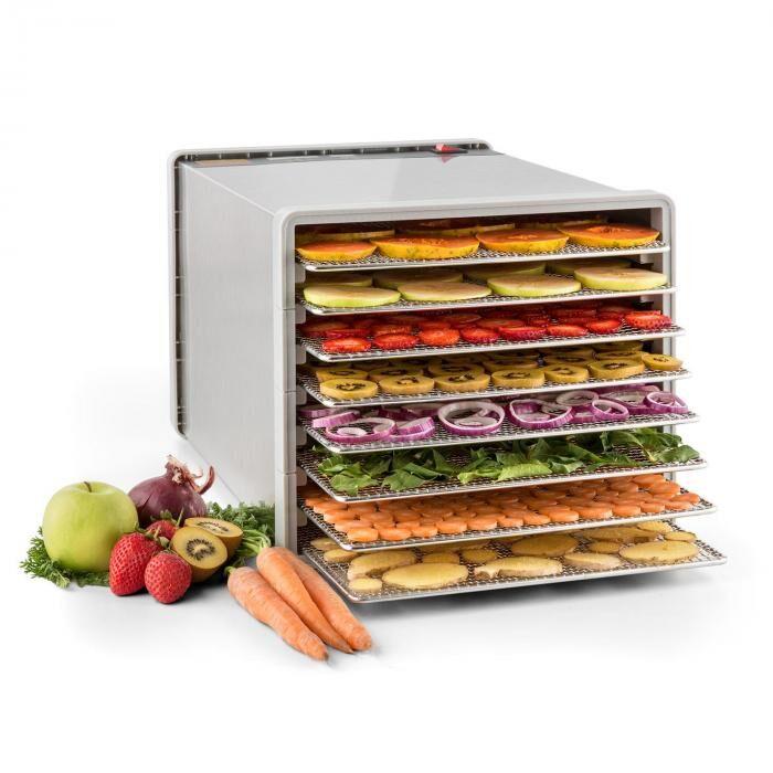 Klarstein Pro Fruit Jerky Steel 8 Déshydrateur alimentaire 630W 8 étages acier