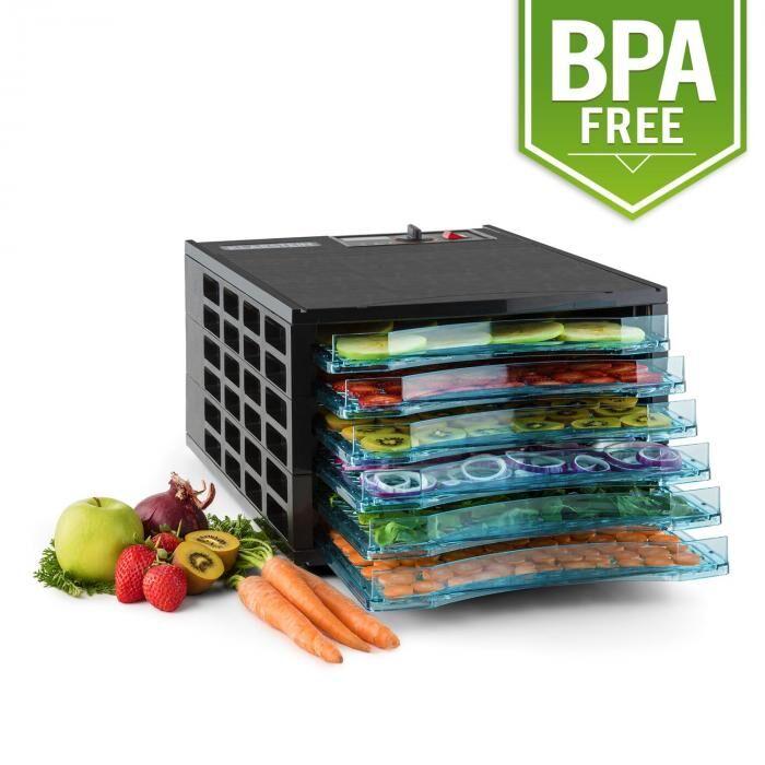 Klarstein Pro Fruit Jerky 6 Basic Déshydrateur alimentaire Séchoir à fruits 630W 6 étages