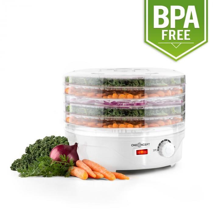 OneConcept Bonsai Déshydrateur alimentaire 5 étages 250 watt – blanc