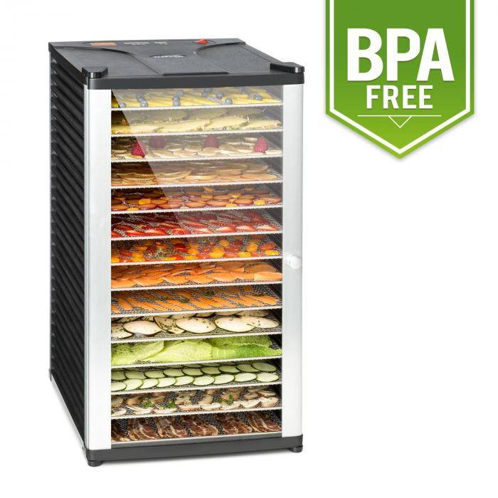 Klarstein Pro Fruit Jerky 14 Déshydrateur alimentaire 14 étages 1000W - acier noir