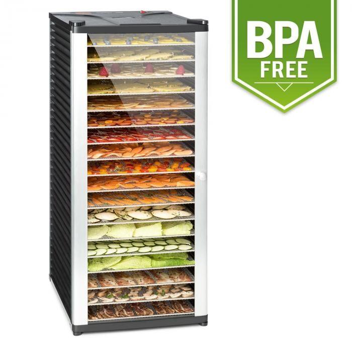Klarstein Pro Fruit Jerky 18 Déshydrateur alimentaire 18 étages1000W - acier noir