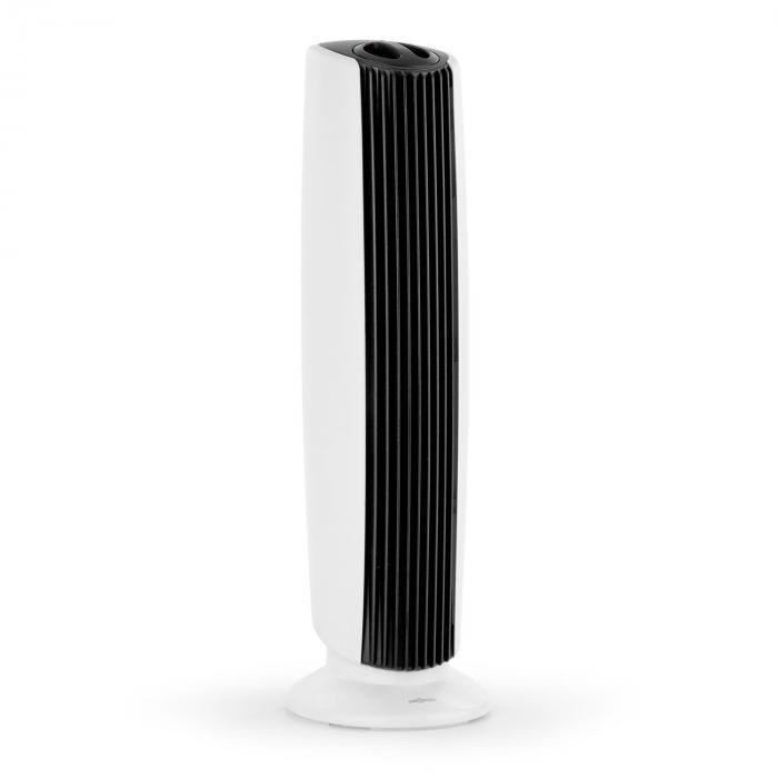 OneConcept St. Oberholz XL Purificateur d'air ioniseur ventilateur noir & blanc   Capacité de débit : 7,25 m/h (4.25 CFM)   Dimension de pièce adaptée : jusqu'à 10 m²   Niveau sonore (avec / sans ventilateur) : 40 / 15 dBA