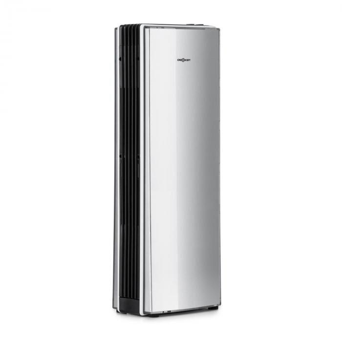 OneConcept St. Oberholz Office A Ioniseur ventilateur Purificateur d'air - argent   Capacité de débit : 7,25 m/h (4.25 CFM)   Dimension de pièce adaptée : jusqu'à 10 m²   Niveau sonore (avec / sans ventilateur) : 40 / 15 dBA    FI