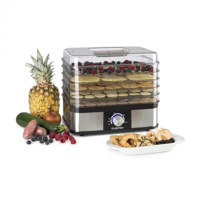 Klarstein Valle Deluxe Déshydrateur séchoir à fruits 5 étages 250W inox