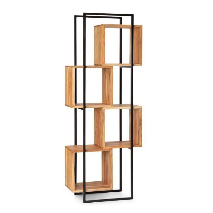Besoa Rotterdam Etagère en bois d'acacia cadre fer 4 niveaux 70 x 180 x 33,5cm