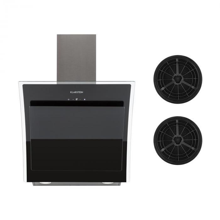 Klarstein Sabia 60 hotte aspirante 60 cm 2 x filtres à charbon actif inclus noir