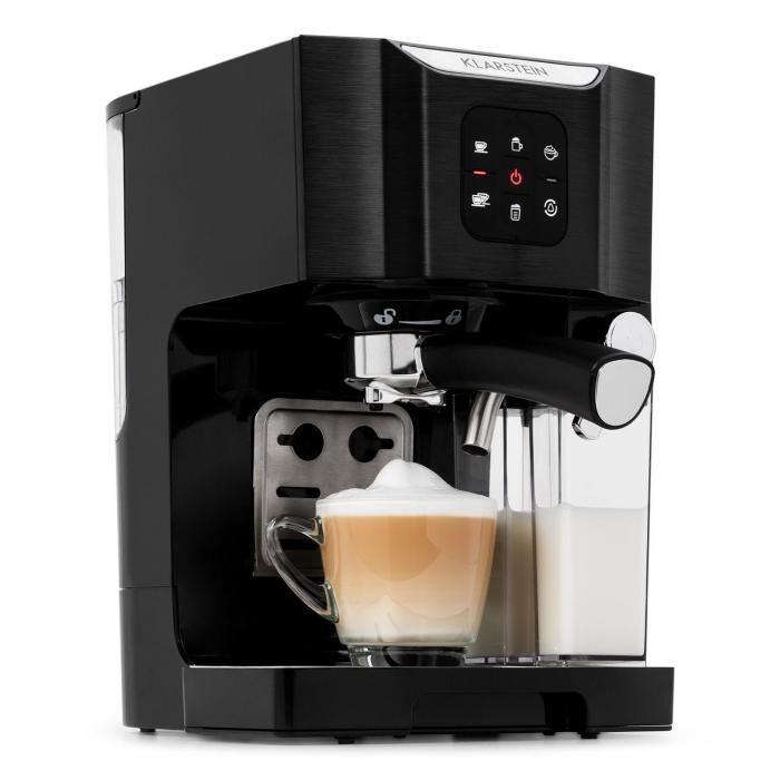 Klarstein BellaVita Machine à café 1450W 1,4L 20bars mousseur de lait 0,4L noir