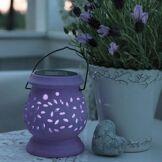 Best Season Lampes à poser d'extérieur Best Season CLAY LANTERN-Lanterne Solaire d'extérieur LED H14,5cm Violet