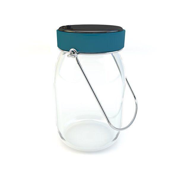Tisteane Lanterne extérieur Tisteane POT DE LAIT-Bocal solaire / Lanterne d'extérieur LED solaire Verre H17cm Bleu