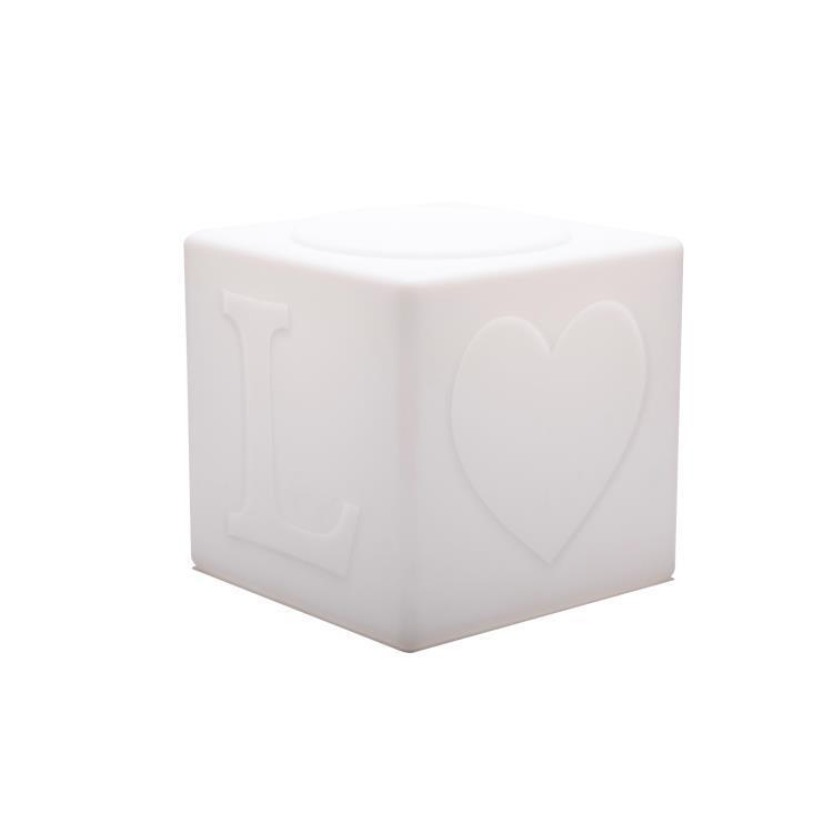 Goodnight Light Lampes à poser d'extérieur Goodnight Light THE LOVE LAMP-Cube LED sans fil avec télécommande RGB H43cm Blanc