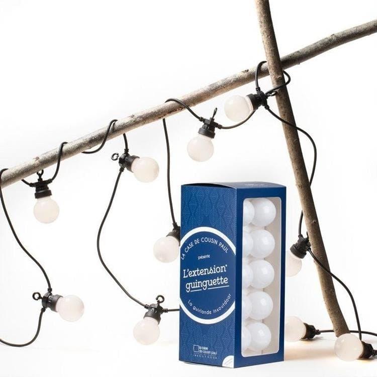 La Case de Cousin Paul Guirlande lumineuse extérieur La Case de Cousin Paul GUINGUETTE-KIT Extension pour Guirlande Guinguette Câble Noir 10 Ampoules L300cm Blanc