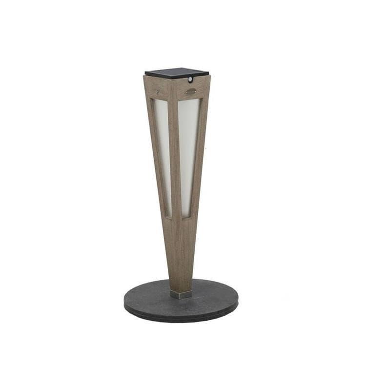 Les Jardins Borne extérieur Les Jardins TINKA TECKA-Torche d'extérieur LED à poser rechargeable & solaire Bois/Ardoise H52cm Gris