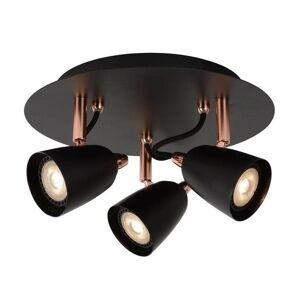 Lucide Spot Lucide RIDE-LED-Plafonnier 3 Spots Orientables Métal Ø25cm Noir