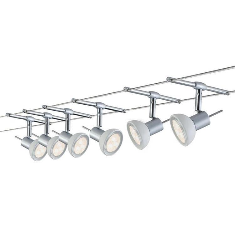 Paulmann Spot Paulmann SHEELA-Kit de 6 Spots LED sur Câbles en Métal L10M Argenté