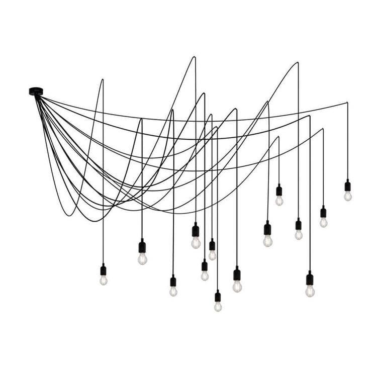 Seletti Suspension Seletti MAMAN-Suspension 14 lumières avec Ampoules Transparentes 4m Ø Modulable Noir