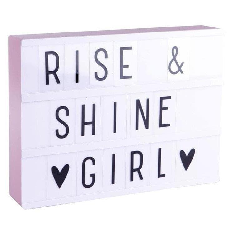 A Little Lovely Company Lightbox A Little Lovely Company LIGHTBOX A4-Boite lumineuse LED Blanc + 85 lettres et symboles H21cm Rose