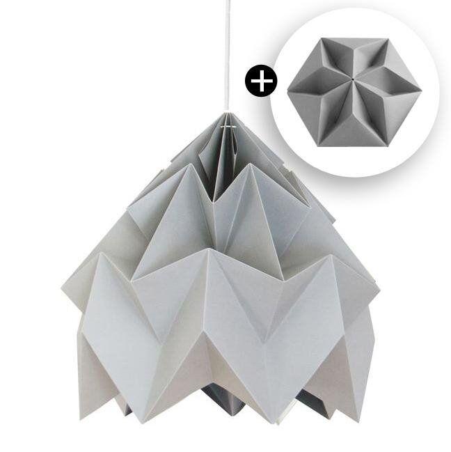 Studio Snowpuppe Suspension Studio Snowpuppe MOTH-Suspension XL et Rosace Papier Ø40cm Gris