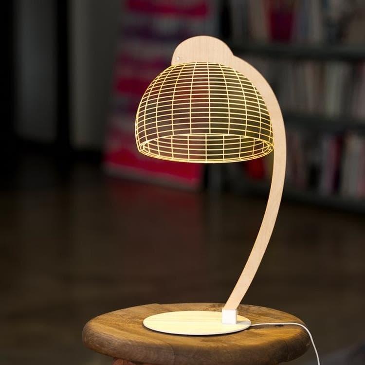 Studio Cheha Lampe à poser Studio Cheha BULBING DOME-Lampe à poser LED Blanc & Bois H42cm Blanc