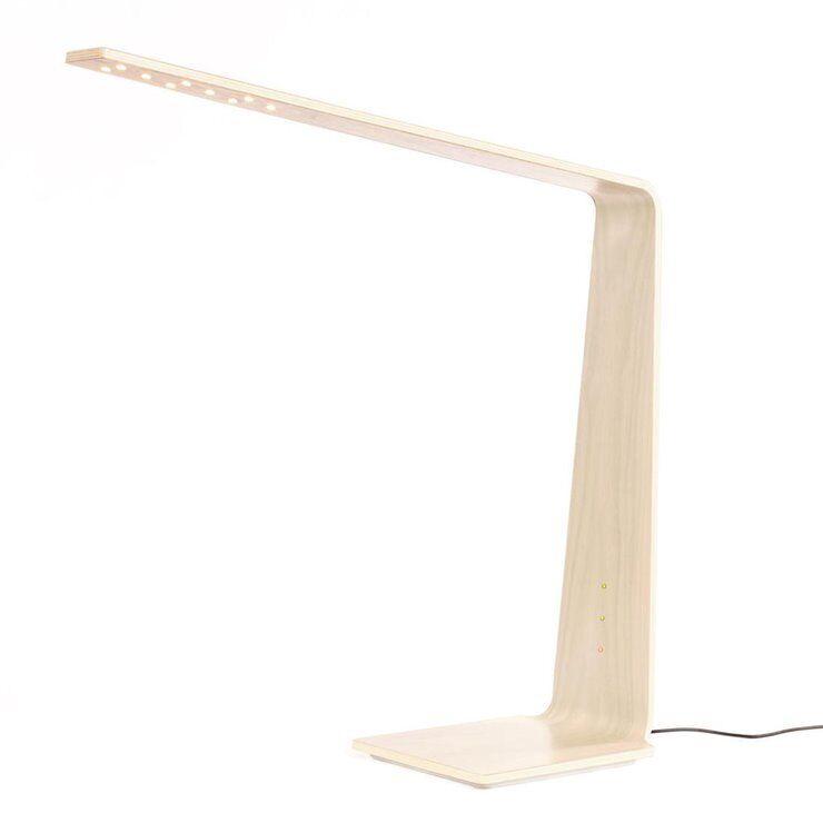 Tunto Lampe à poser Tunto LED8 DESK-Lampe de bureau LED Bois tactile avec Chargeur à Induction H56cm Bois