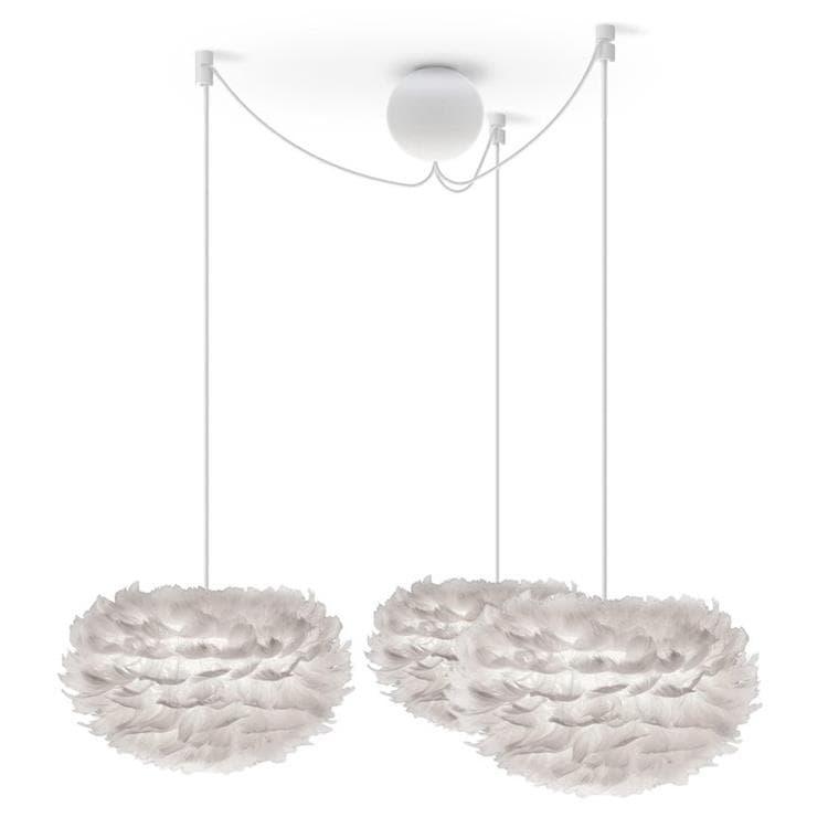 Umage (Vita Copenhagen) Suspension Umage (Vita Copenhagen) EOS MINI-Suspension 3 Lumières Plume Ø35cm + Câbles blancs Blanc