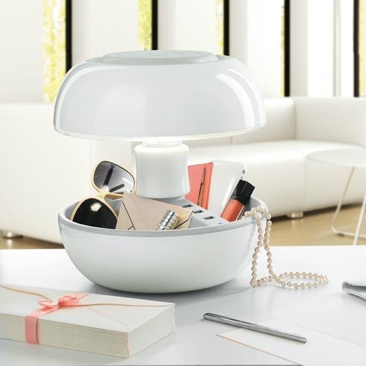 Vivida Lampe à poser Vivida JOYO-Lampe avec port USB Multifonction Laquée H27cm Blanc