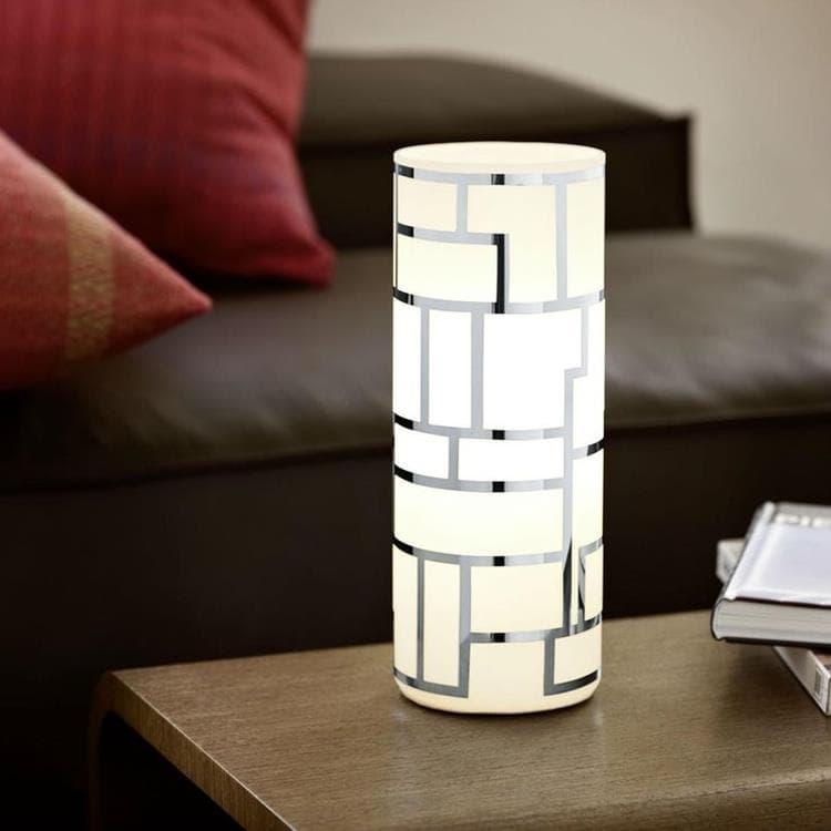 Eglo Lampe à poser Eglo BAYMAN-Lampe de table Acier & Verre H27cm Blanc