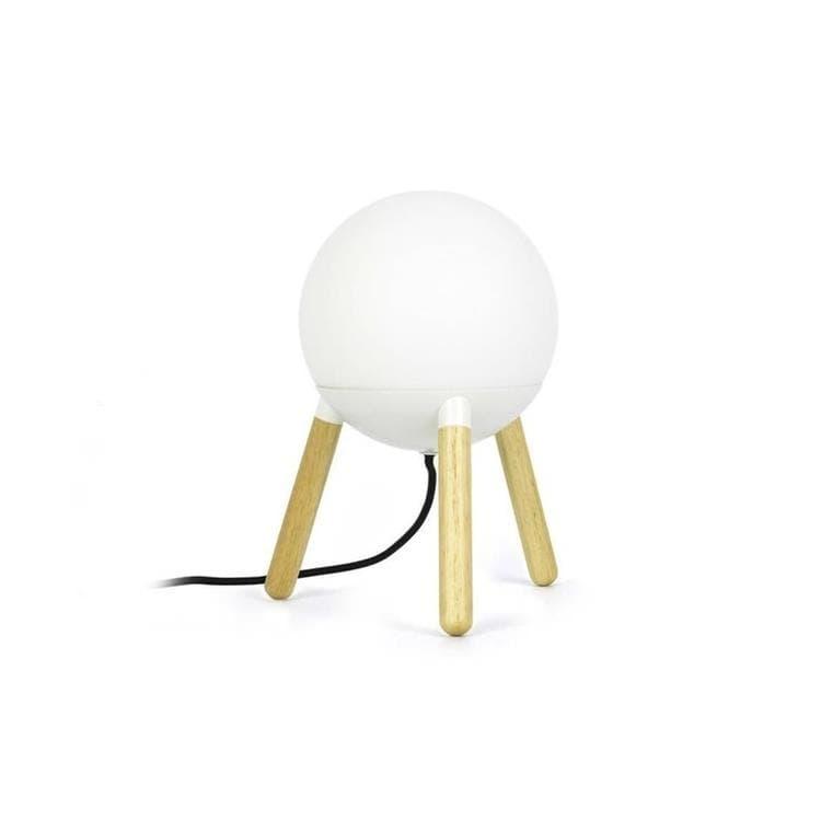 Faro Lampe à poser Faro MINE-Lampe à poser Trépied Bois/Métal/Verre Opalin H30cm Blanc