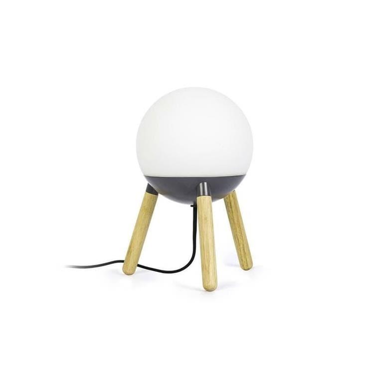 Faro Lampe à poser Faro MINE-Lampe à poser Trépied Bois/Métal/Verre Opalin H30cm Gris