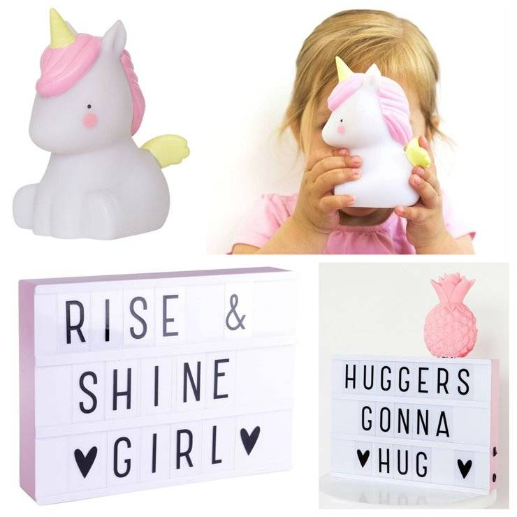 A Little Lovely Company Guirlandes et objets lumineux A Little Lovely Company Coffret Licorne-Veilleuse LED Licorne & Light Box A4 Blanc/Rose