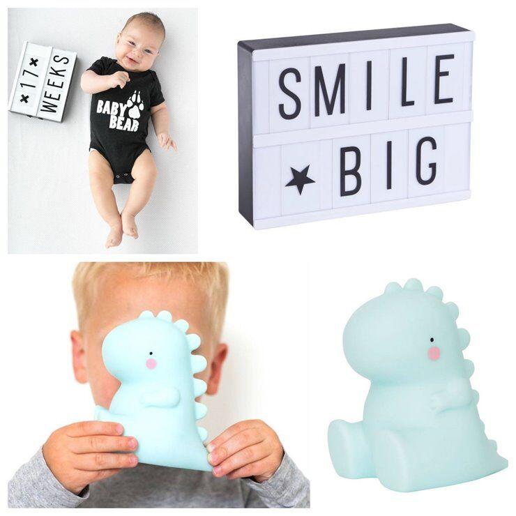 A Little Lovely Company Veilleuse lumineuse A Little Lovely Company Coffret T-Rex-Veilleuse LED T-Rex & Light Box A5 Bleu/Blanc/Noir