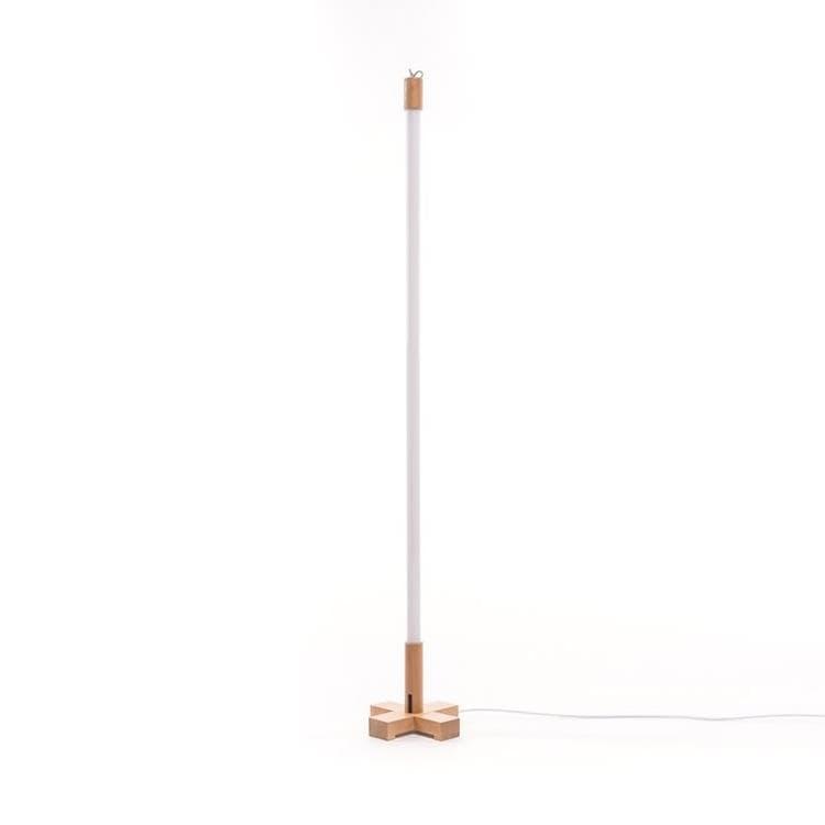 Seletti Néon Seletti LINEA-Lampe baladeuse Néon LED avec base bois H140cm Blanc