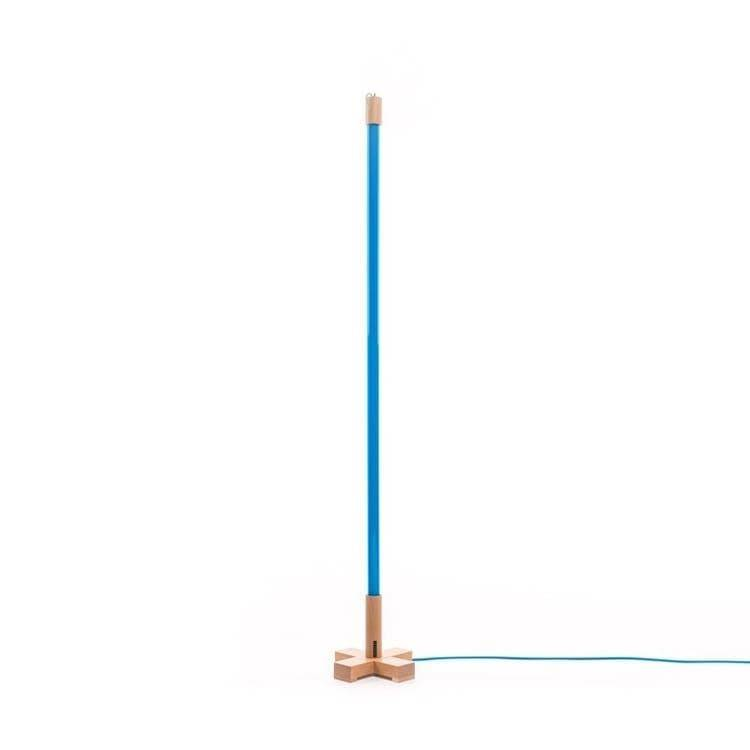 Seletti Néon Seletti LINEA-Lampe baladeuse Néon LED avec base bois H140cm Bleu