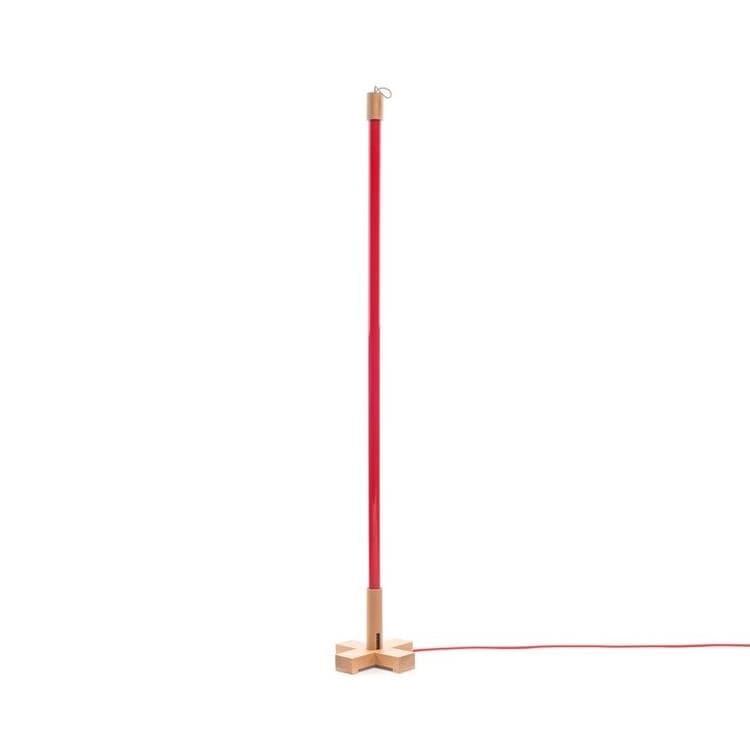 Seletti Néon Seletti LINEA-Lampe baladeuse Néon LED avec base bois H140cm Rouge