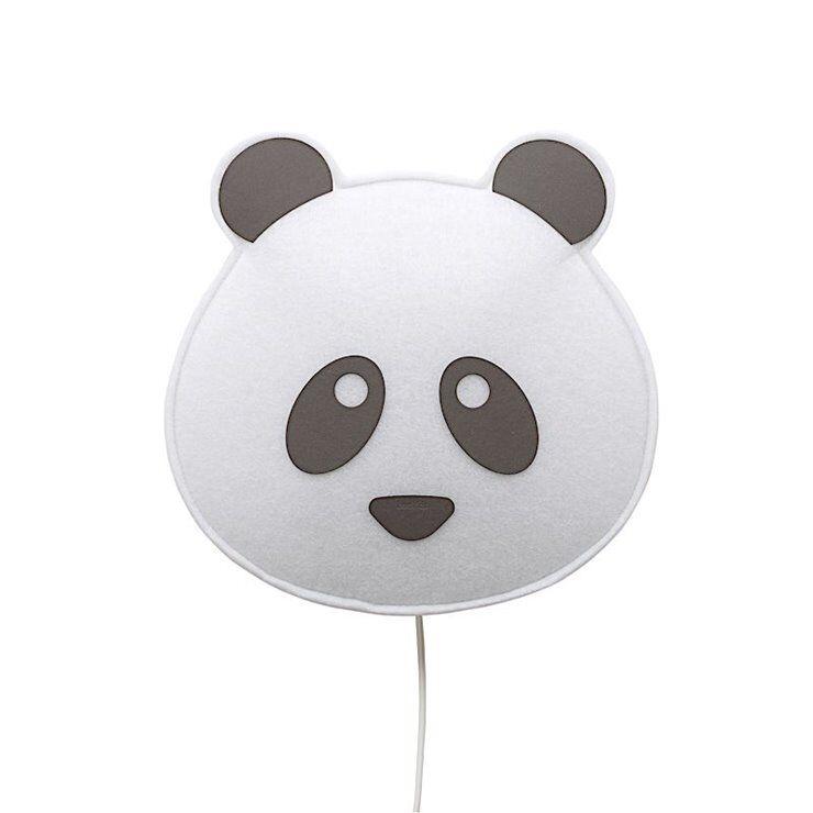 BUOKIDS Applique murale BUOKIDS SOFT LIGHT-Applique en Fibres de Polyester recyclés Masque Panda H37cm Noir