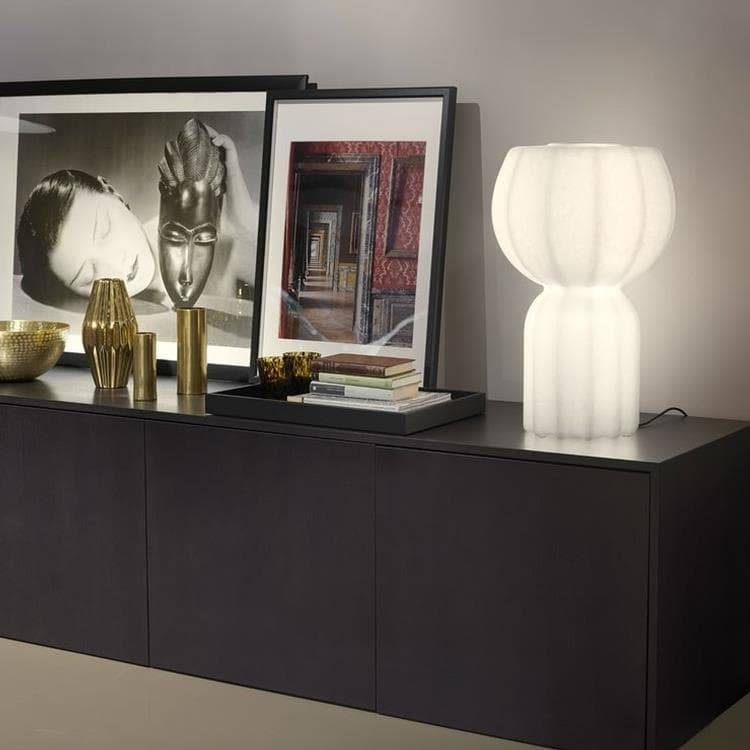Slide Lampe à poser Slide PUPA-Lampe à poser LED Polyéthylène effet papier japonais H58cm Blanc
