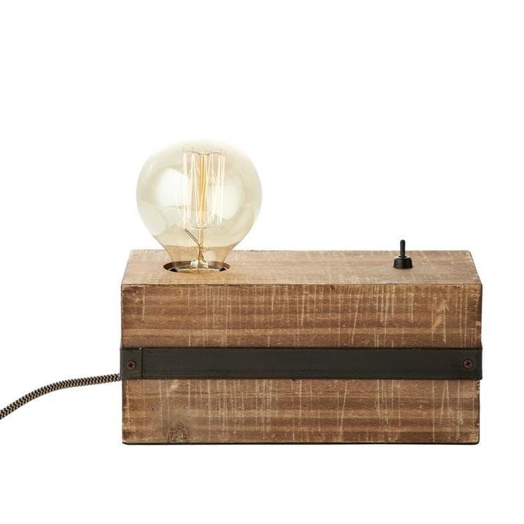 Brilliant Lampe à poser Brilliant WOODHILL-Lampe à poser Métal et bois avec interrupteur L22cm Bois