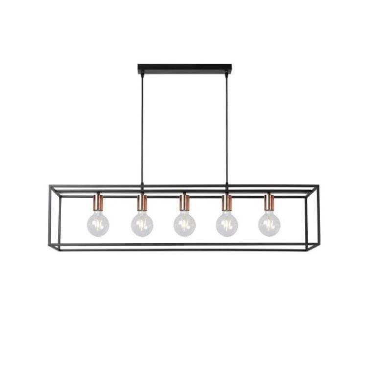 Lucide Suspension Lucide ARTHUR-Suspension en métal carré H25cm Noir