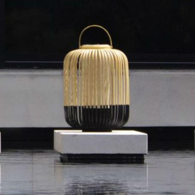 Forestier Lampe à poser extérieur Forestier TAKE A WAY M-Baladeuse LED d'extérieur sans fil  Bambou H44cm Noir