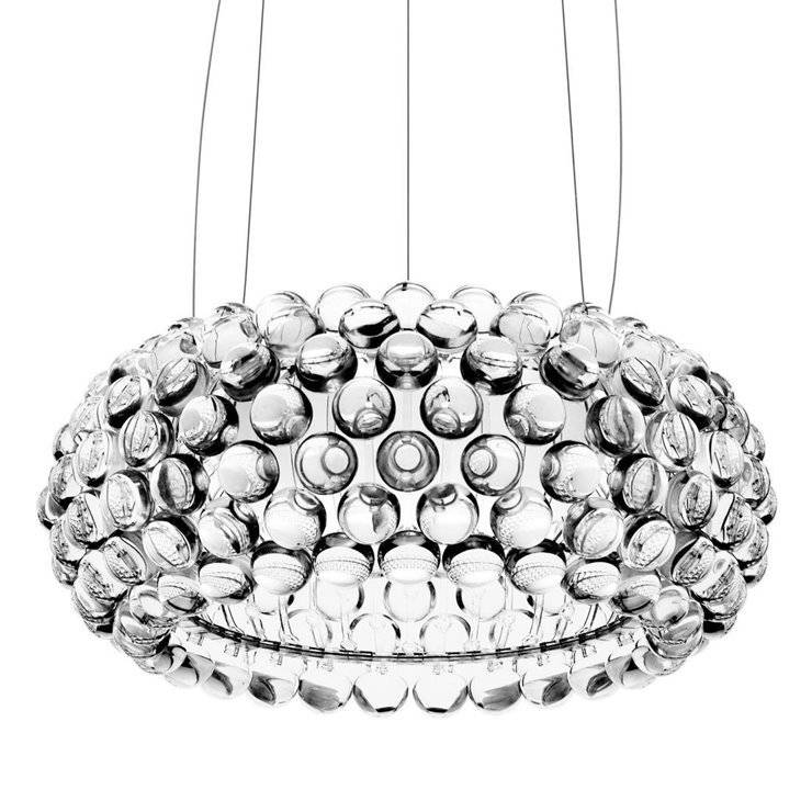 Foscarini Suspensions et plafonniers Foscarini CABOCHE MEDIA LED MY LIGHT TURNABLE WHITE-Suspension LED variateur Bluetooth chaud/froid Ø50cm Transparent