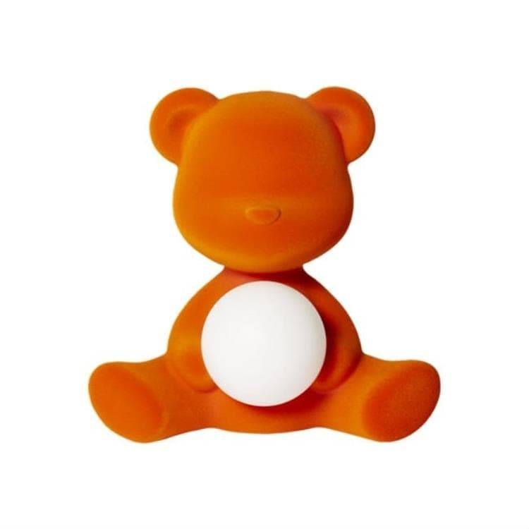 Qeeboo Veilleuse lumineuse Qeeboo TEDDY GIRL-Lampe LED rechargeable Ourson Velours H32cm Orange