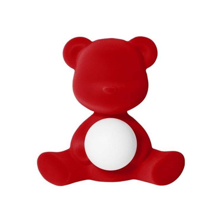 Qeeboo Veilleuse lumineuse Qeeboo TEDDY GIRL-Lampe LED rechargeable Ourson Velours H32cm Rouge