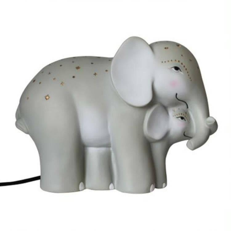 House Of Disaster Veilleuse lumineuse House Of Disaster BABY AND MUM ELEPHANT-Lampe à poser LED éléphants Résine H15.5cm Gris